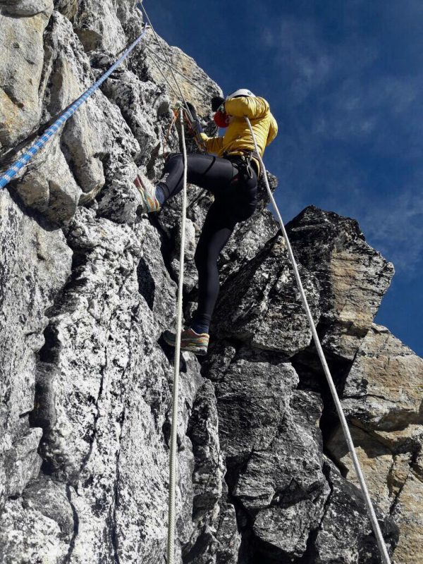 Alex climbing the infamous yellow tower at 6000m